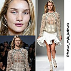 ROSIE BRALESS MAKEUP FREE & yes GORGEOUS in BALMAIN fashion show #rosiehuntingtonwhiteley #boots #balmain #vs #victoriassecret #hollywood #beauty #gorgeous #awesome #style #fashion #instastyle #instafashion #beautiful #ootd #hot #makeup #hair #inspiration  #supermodel #mango #floral #angel #model #streetstyle #hipster #love #streetfashion #omg #wow... - Celebrity Fashion