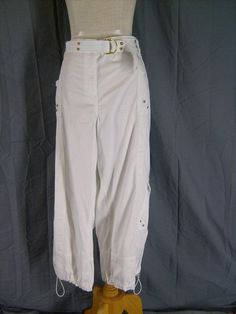 Size 22W Style & Co. Woman Cropped Pant White Cotton Cargo Capri 2X Drawstring | eBay