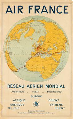 Air France - Réseau aérien mondial - 1930's -