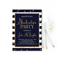Lets help celebrate the new graduate with this adorable navy, white & gold confetti graduation party invitation!  **NOTE** This is just a graphic