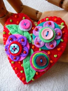 Bead Embroidery | ... , felt heart, and bead embroidery… - crafts ideas - crafts for kids