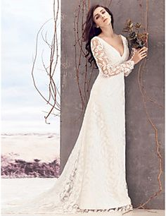 Lanting Bride® Fourreau / Colonne Robe de Mariage  Traîne Tribunal Col en V Dentelle avec Dentelle