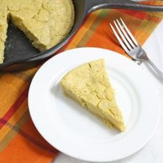 """Low carb skillet """"corn""""bread- undeniably scrumptious, vegan, gluten and grain free, and only about 50 calories a piece!"""