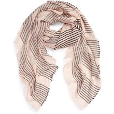 Women's Sole Society Stripe Scarf (£28) ❤ liked on Polyvore featuring accessories, scarves, blush, pink scarves, pink shawl, sole society, striped shawl and striped scarves