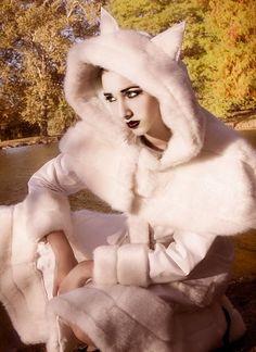 Winter Wonderland Coat White Faux Fur Trim Japanese Lolita-Custom to your size.