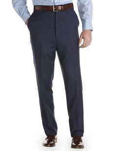Ralph by Ralph Lauren Tonal Plaid Flat-Front Suit Pants