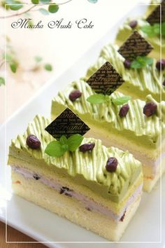 White chocolate, red bean and green tea montblanc cake
