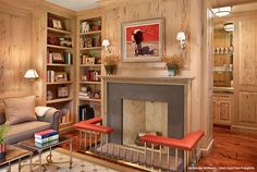 Larchmont Residence - Bull Art!  And LOVE the Safeguard around the Fireplace.