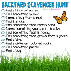 Scavenger Hunts - Primary Playground - With everyone staying at home and e-learning happening everywhere, I thought it would be fun to mak - Home Learning, Preschool Learning, In Kindergarten, Learning Activities, Kindergarten Scavenger Hunt, Outdoor Learning, Outdoor Play, Family Activities, At Home Toddler Activities