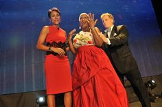 Good Morning America's Robin Roberts (left), WSB-TV's Monica Pearson, and Tim McVay, vice president and general manager of WSB-TV, during the Salute 2 Monica celebration at the Fox Theatre. Robin Roberts, Good Morning America, Vice President, Bridesmaid Dresses, Wedding Dresses, Theatre, Celebration, Fox, Cover