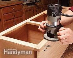 trim the face frames to fit the cabinet boxes with a flush trim router bit