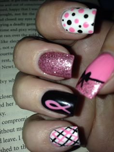 but want all mine like thumb nail and ring nail as is…… LOVE LOVE LOVE these….but want all mine like thumb nail and ring nail as is…Breast cancer awareness nail design by Keri. Toe Nail Designs, Nail Polish Designs, Nails Design, Pink Nail Art, Pink Nails, Hot Nails, Hair And Nails, Breast Cancer Nails, Menta Chocolate