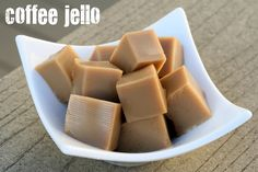 """Coffee Jello shots - recipe could easily be adapted to become """"adult"""" coffee Jello shots (Kahlua, Frangelico???)"""