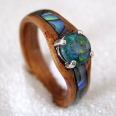 Mystic- Wood ring with Paua shell inlay with Opal Mosaic cabochon