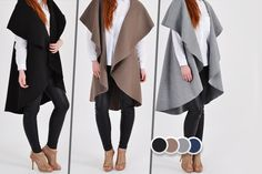 Sleeveless Waterfall Jacket - 4 Colours!