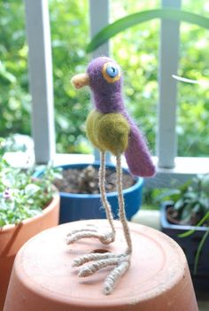 Needle Felted Purple Bird, Yellow Canary, and Goldfinch (picture heavy) - FIBER ARTS