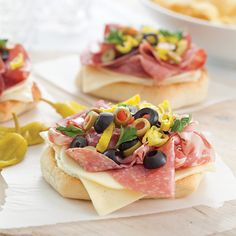 Open-Faced Muffaletta Sandwiches