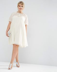 LOVE this from ASOS! Swing dress in white whit embroided yoke.