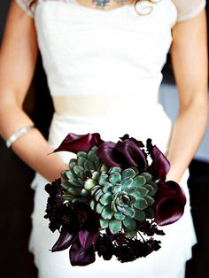 purple lily and succulent wedding bouquet