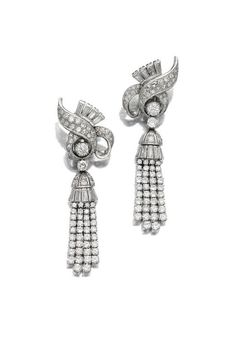 PAIR OF DIAMOND EARRINGS, LATE 1950S.