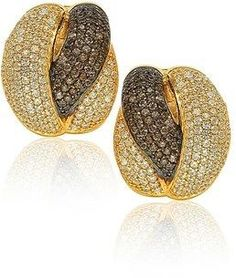 Suzy Levian Golden Sterling Silver Brown Chocolate And White Cubic Zirconia Crossover Earrings.