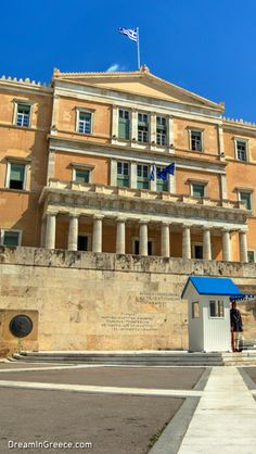 """Greek Parliament. In Athens, the """"Birthplace of Democracy"""", the past meets today; in a place full of life with quiet and romantic """"corners"""" waiting to be discovered!  #athens #dreamingreece #travelguide #travel #greece #vacations #holidays #museums"""