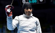 Ibtihaj Muhammad makes US history, wears hijab in Olympics:        Aug 8, 2016; Rio de Janeiro, Brazil; Ibtihaj Muhammad (USA) is eliminated in women's sabre individual competition against Cecilia Berder (FRA) in the Rio 2016 Summer Olympic Games at Carioca Arena 3.