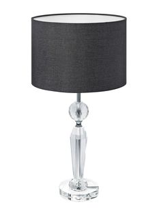 Sophie Medium 1 Light Table Lamp in Crystal/Black