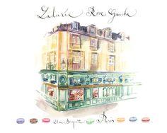Laduree shop Paris Art print Watercolor painting by lucileskitchen, $30.00