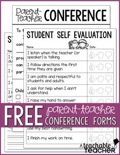 Conferences Are Coming Student SelfEvaluations  Classroom