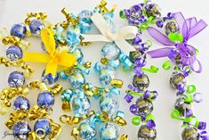 Blue& Gold, Powder Blue & Gold, and Purple & Lime Green Kukui Nut Candy Leis