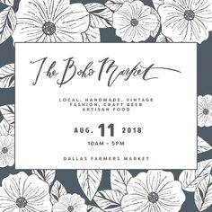 The Boho Market. Local artisan pop up festival! Support local. Handmade. Makers. Vintage. Artists. One-of-a-kind items. Shop small.