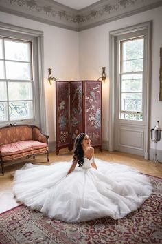 Gorgeous ballroom style bride at the Rosecliff Mansion: http://www.stylemepretty.com/rhode-island-weddings/newport-ri/2016/02/24/vintage-french-affair-wedding-at-rosecliff-mansion/   Photography: Christian Oth Studios - http://www.christianothstudio.com/