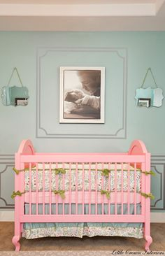 Laila Ali's nursery for baby girl. How sweet is the framed photo of her dad above the crib?