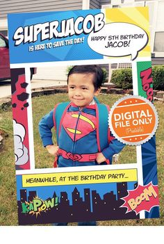 Superhero Theme Photo Booth. Party Prop Frame. Digital File