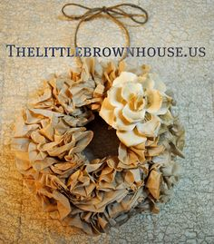 Mini Coffee Filter Wreath- with a Christmas themes flower and ribbon