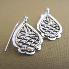 Filigree and Silver Earrings. $40.00, via Etsy.