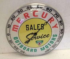 Mercury Outboard Motors Antique Thermometer  (Boat Engine Sales & Service Vintage Advertising Thermometers)
