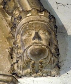 A crowned Green Man on a window stop in the church of Mary the Virgin, Dodford, Northamptonshire, England (photo Maddy Aldis-Evans)
