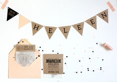 A newborn party! With this baby card garland