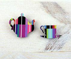 Geometric Brooch Neon Tea Pot Cup | jewelry cups | pinned by http://www.cupkes.com/