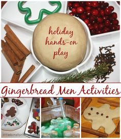 Gingerbread Man Themed Christmas Sensory Play  Felt Cookies, Homemade Play Dough and Ice Men! We were inspired to have an afternoon of gingerbread fun after we pulled out a favorite Christmas book called the Gingerbread Mouse! This was a particular favorite last year and it appears to be a ...