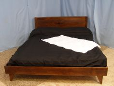 Danish Modern Inspired  Bed Sappy Walnut Item QSW by arrowheadwood, $900.00
