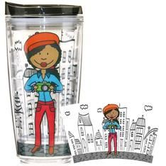 African American lady photographer - If you're a photo buff, this cute photographer insulated plastic tumbler is for you!!