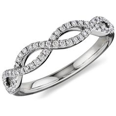 Blue Nile Infinity Twist Micropavé Diamond Wedding Ring in 14k White... ❤ liked on Polyvore