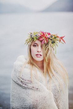 Styled Shoot on the Olympic Peninsula by @RyanFlynnPhotography. Winter floral crown by @mlpowell (McKenzie Powell Designs) www.ryanflynnphotography.net