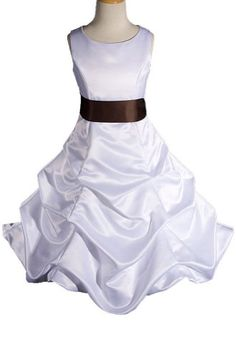 AMJ Dresses Inc White/brown Flower Girl Wedding « Dress Adds Everyday