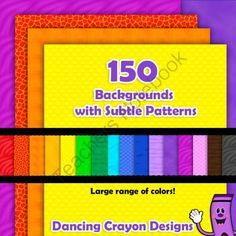 150 Backgrounds / Digital Papers with Subtle Patterns from Dancing_Crayon_Designs on TeachersNotebook.com -  (150 pages)  - Beautiful colored digital background papers with subtle patterns.  Perfect for creating cover pages.