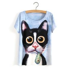 Loneyshow Summer Style White Tiger 3D Print T-Shirt Women Summer Clothes 2017