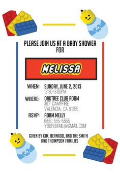LEGO Themed Baby Shower by EtchandSketch on Etsy, $10.00